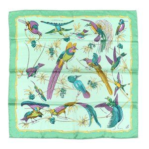 NEW HERMES PARIS 100% SILK SCARF 70x70 JADE BIRD